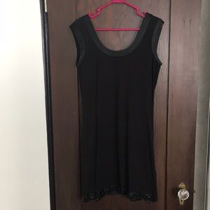 Ted Baker sexy black mini dress w bead accents